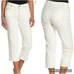 NWT Eileen Fisher High Rise Cropped Jeans Natural
